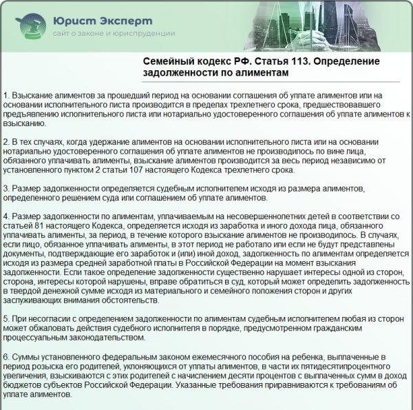 СК РФ Статья 113