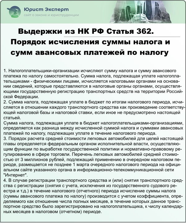 Выдержки из статьи 362 НК РФ