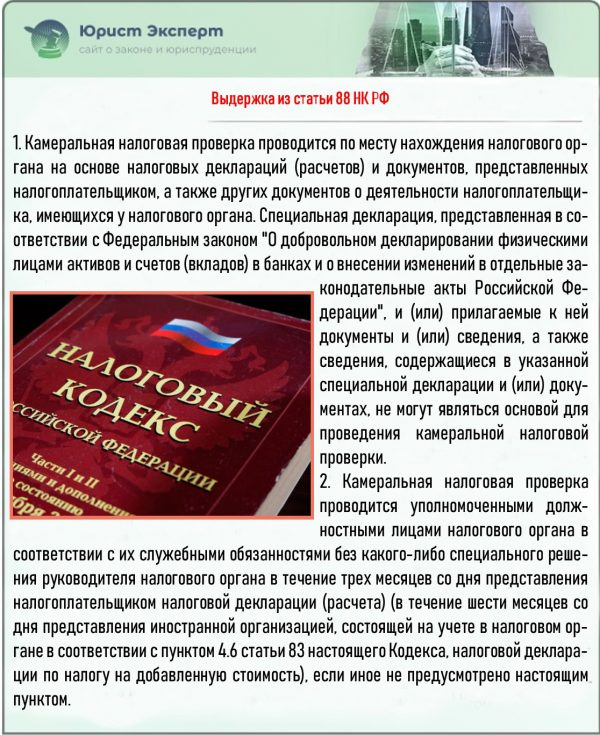 Выдержка из статьи 88 НК РФ