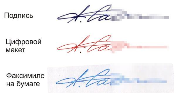 Как выглядит факсимиле подписи