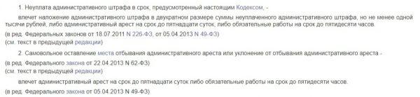 КоАП РФ Статья 20.25. Уклонение от исполнения административного наказания