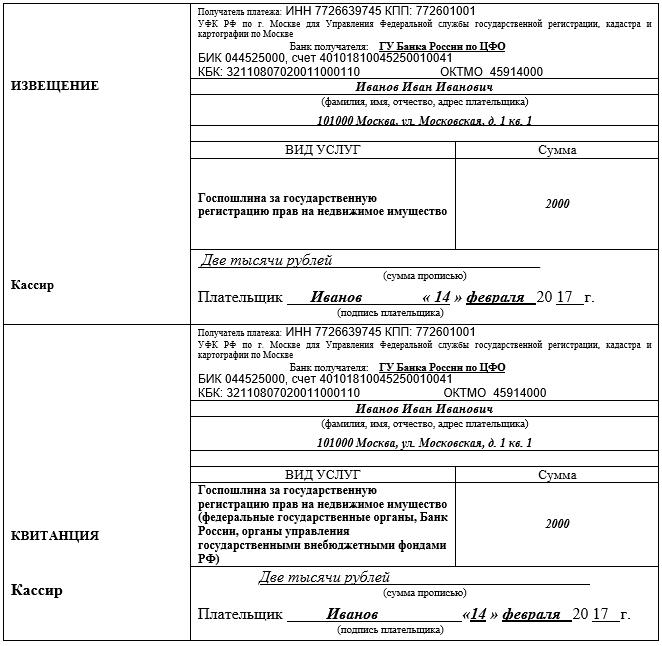 Квитанция на оплату госпошлины за регистрацию прав собственности
