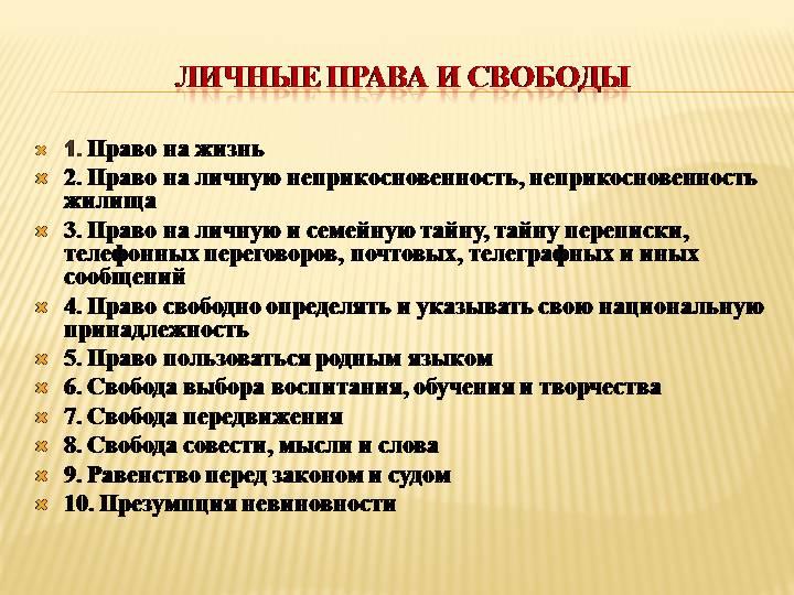 Личные права человека согласно конституции РФ