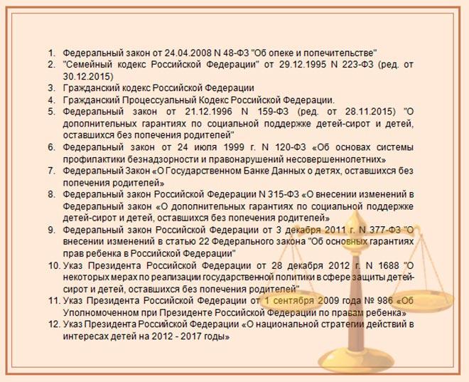 Перечень законодательных актов, регулирующих вопросы предоставления льгот