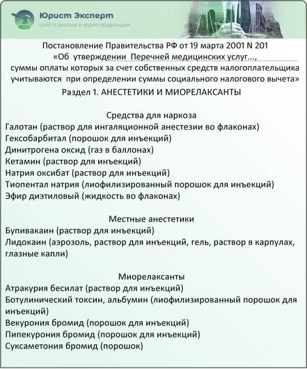 Раздел 1. Анестетики и миорелаксанты (Постановление Правительства РФ № 201)
