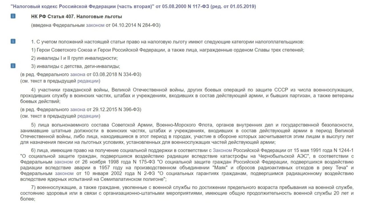 Список льготников согласно Налоговому кодексу РФ (1)