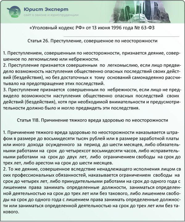 Статьи 26, 118 Уголовного кодекса РФ (ФЗ № 63)