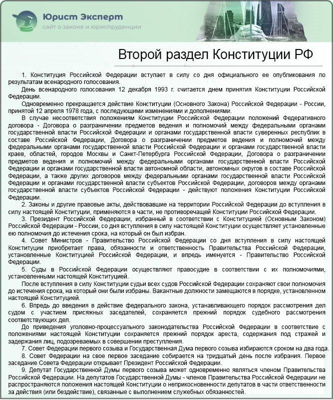 Второй раздел Конституции РФ