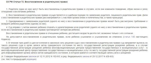 Выписка из статьи 72 СК РФ