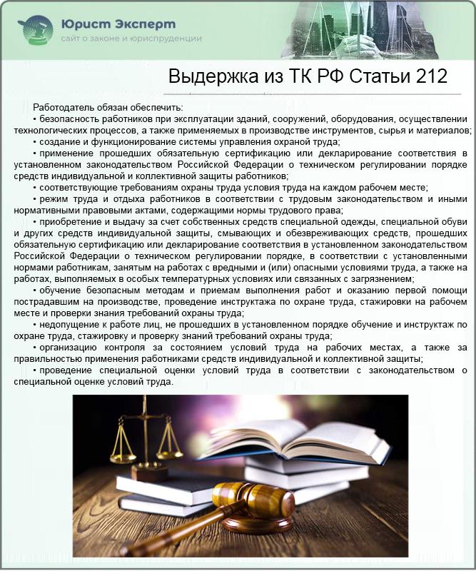 Выдержка из ТК РФ Статьи 212