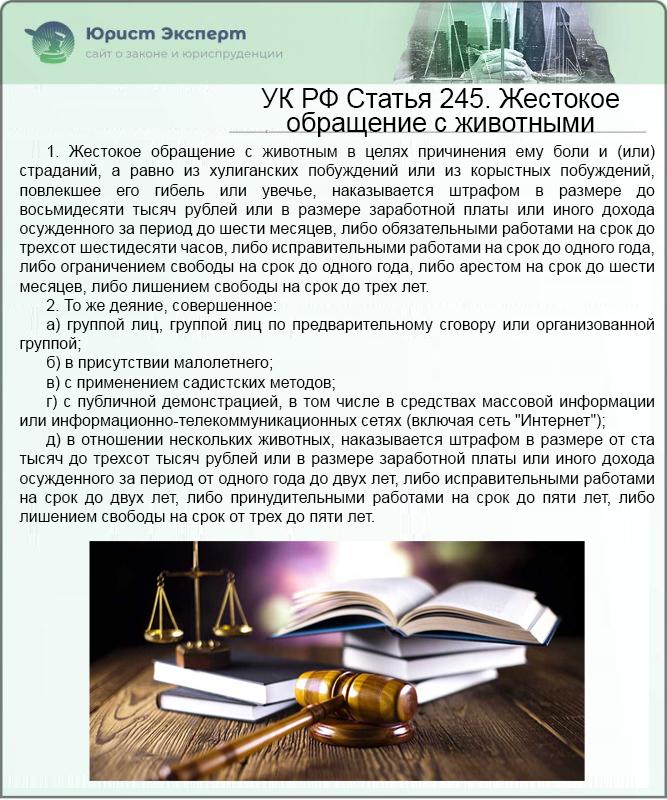 УК РФ Статья 245. Жестокое обращение с животными