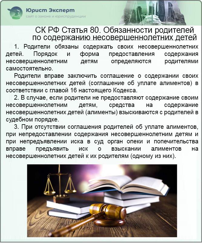 СК РФ Статья 80. Обязанности родителей по содержанию несовершеннолетних детей