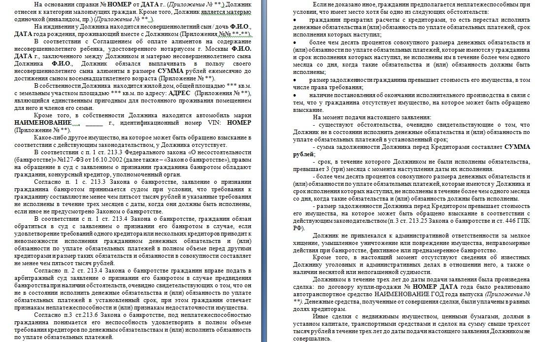 Образец заявления о банкротстве гражданина, страницы 3, 4