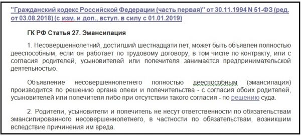 Статья 27 ГК РФ