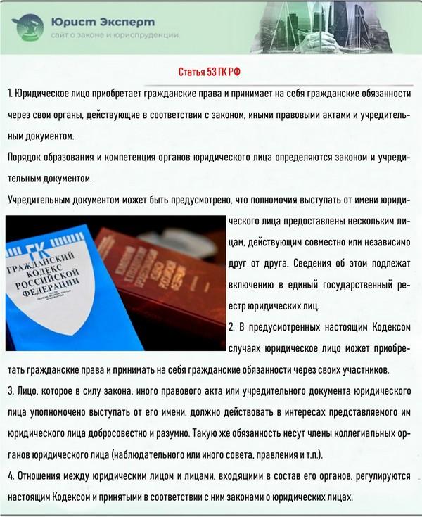 Статья 53 ГК РФ