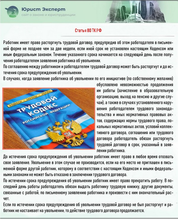 Статья 80 ТК РФ