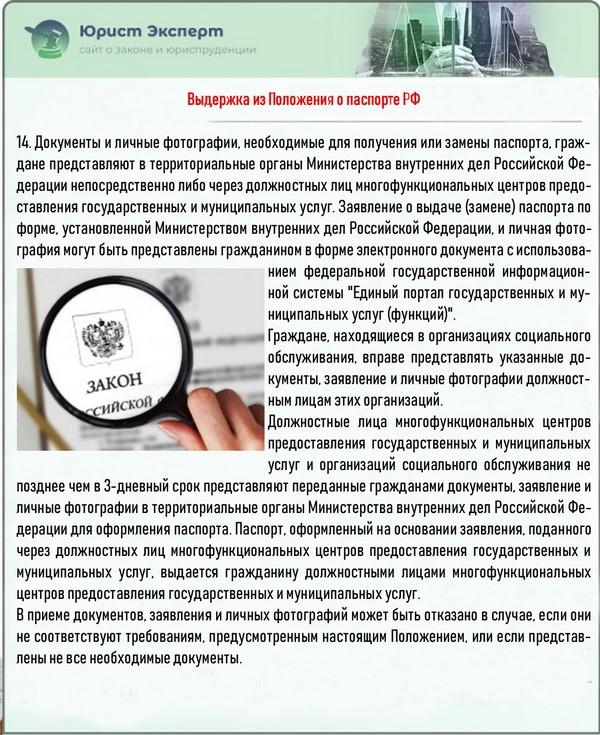 Выдержка из Положения о паспорте РФ