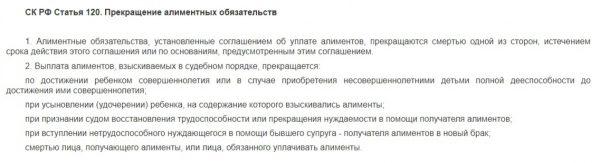 СК РФ Статья 120. Прекращение алиментных обязательств