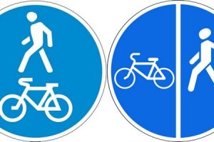 Знаки 4.5.2 Пешеходная и велосипедная дорожка с совмещенным движением (велопешеходная дорожка с совмещенным движением) и 4.5.4 Конец пешеходной и велосипедной дорожки с совмещенным движением (конец велопешеходной дорожки с совмещенным движением)