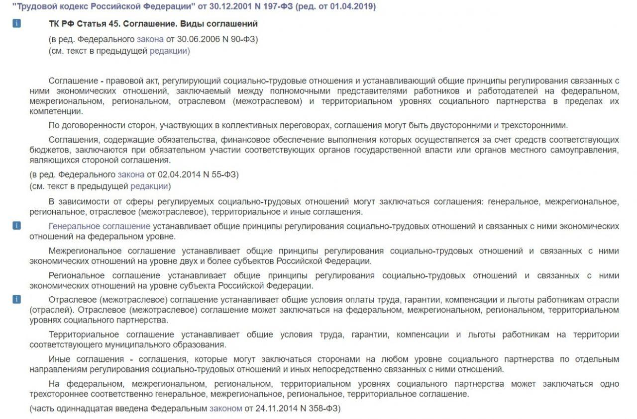 45 статья ТК РФ