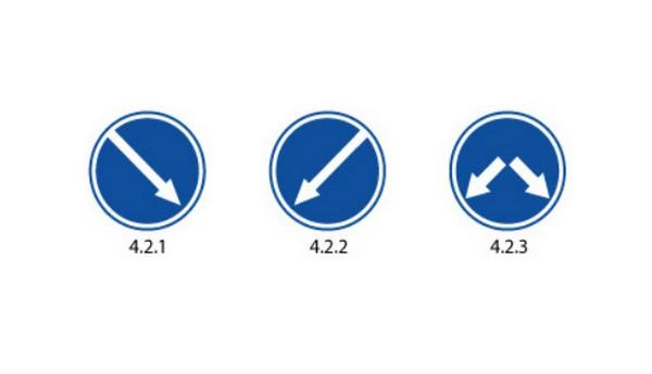 Семейство знаков Объезд препятствия справа, Объезд препятствия слева, Объезд препятствия справа и слева