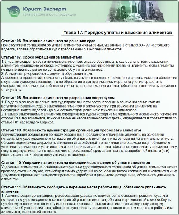 Семейный кодекс Российской Федерации. Глава 17. Порядок уплаты и взыскания алиментов