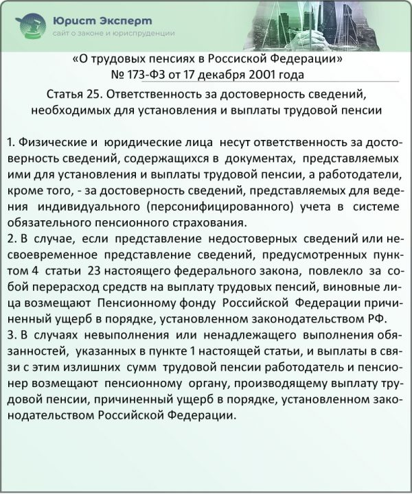 Статья 25. Ответственность за достоверность сведений, необходимых для установления и выплаты трудовой пенсии (ФЗ № 173)