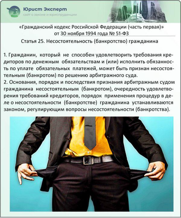 Статья 25. Несостоятельность (банкротство) гражданина (ФЗ № 51)