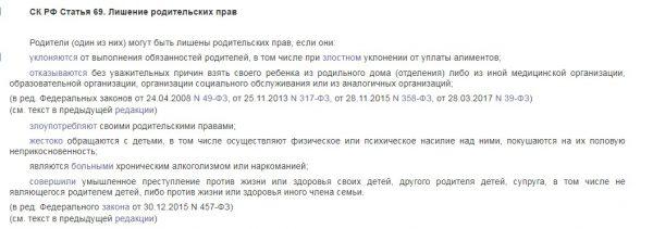 Выписка из Семейного кодекса РФ