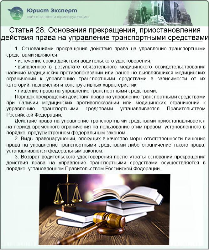 ФЗ №196 Статья 28. Основания прекращения, приостановления действия права на управление транспортными средствами