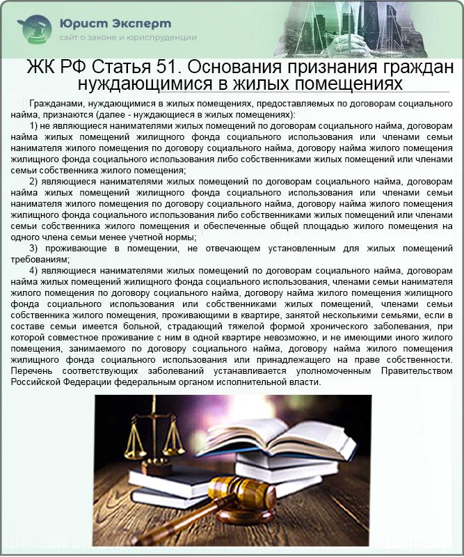жилищный кодекс 51 статья