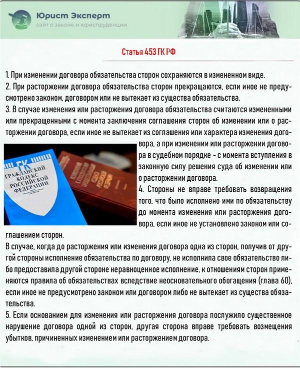 Статья 453 ГК РФ