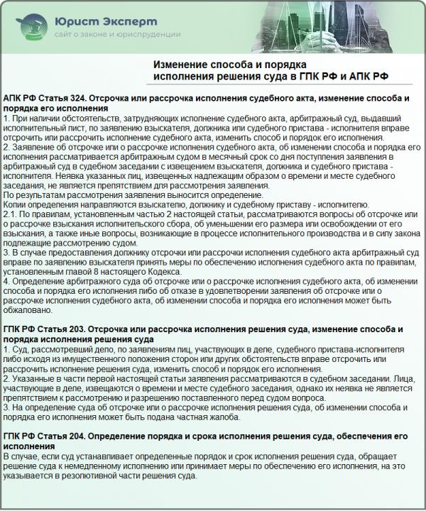 Изменение способа и порядка исполнения решения суда в ГПК РФ и АПК РФ