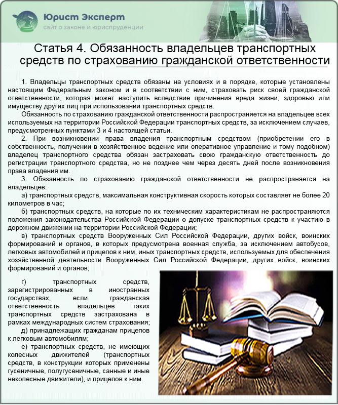 ФЗ №40 Статья 4. Обязанность владельцев транспортных средств по страхованию гражданской ответственности