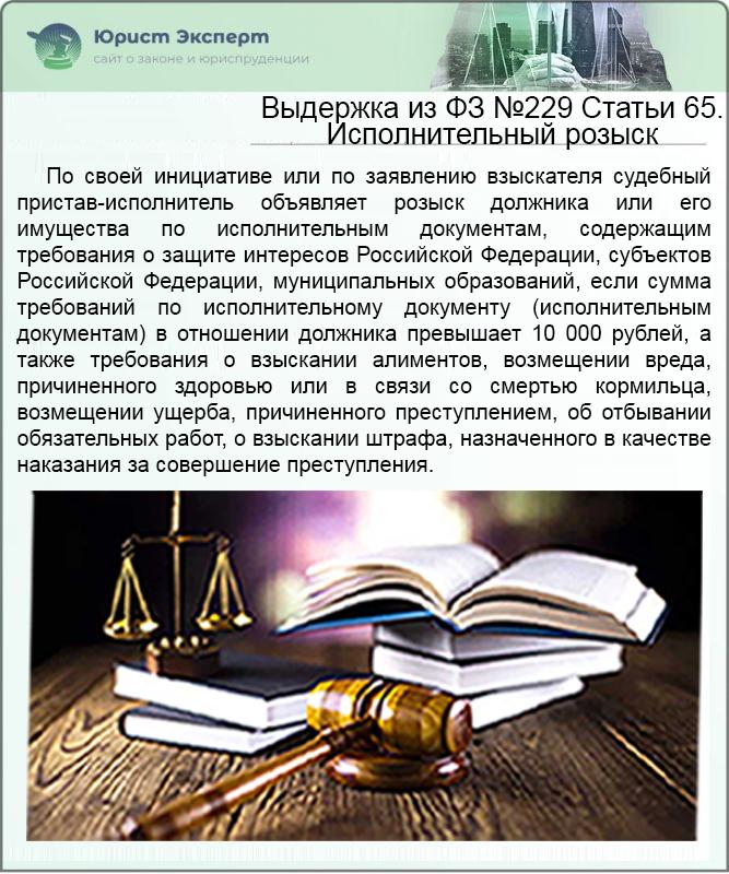 Выдержка из ФЗ №229 Статьи 65. Исполнительный розыск