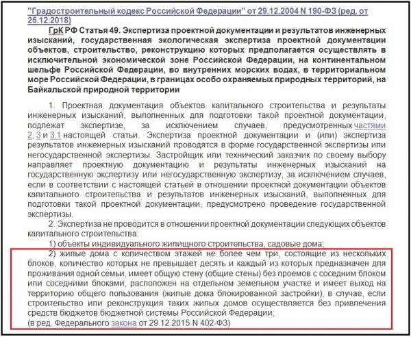 Статья 49. Экспертиза проектной документации и результатов инженерных изысканий (ФЗ № 190)