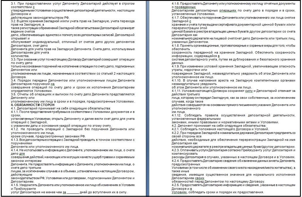 Образец депозитарного договора, стр. 2
